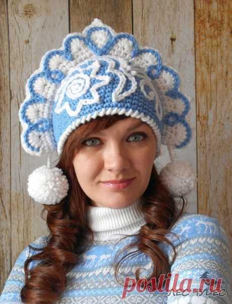 "KOKOSHNIK of \""SNOW MAIDEN\"" (Knitting by a hook) — the Inspiration of the Needlewoman Magazine"