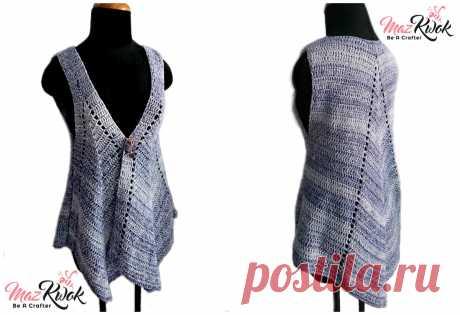 crochet pointed hem vest, crochet pointed tailed vest, crochet vest