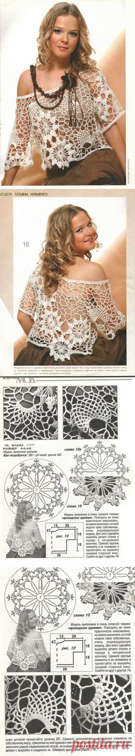 Очаровательная блуза, ирландское вязание.