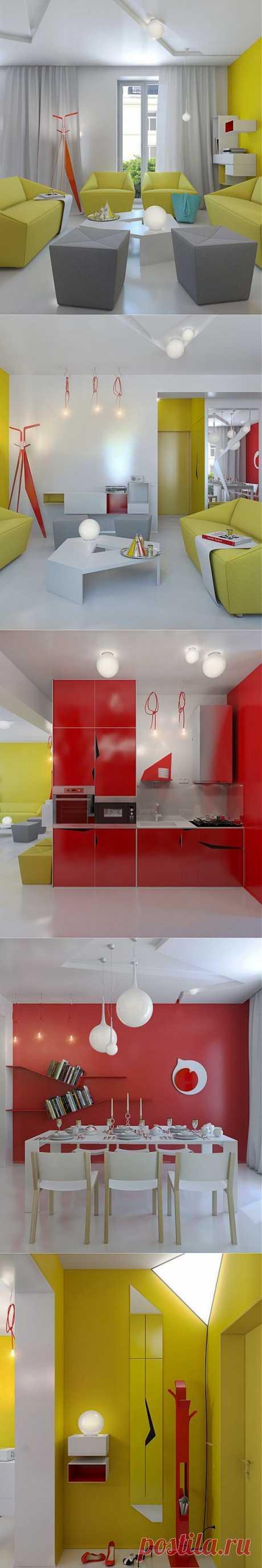 Яркий дизайн квартиры | МОЙ ДОМ