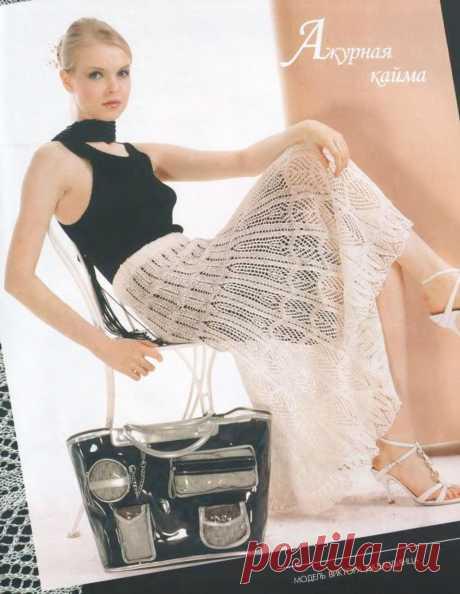 Длинная юбка «Ажурная Загадка» спицами – схемы вязания с описанием
