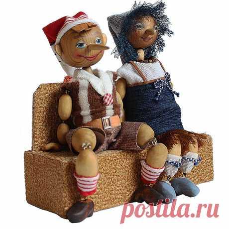 """Деревянные """"Буратино и его подружка"""" - магазин Лавка Рукодельников"""