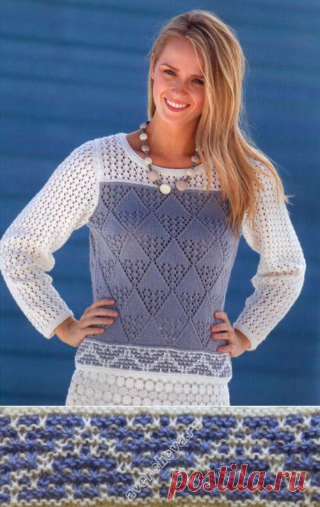 узоры для двухцветного пуловера | каталог вязаных спицами узоров..По низу - ленивый жаккард...