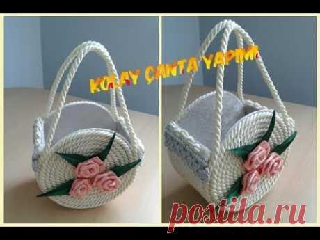 DIY Sepet: İpten güzel DIY el yapımı çanta- Tasarım - YouTube
