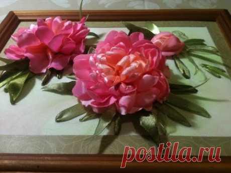 #Вышивка #лентами. #Пион. Часть 1 - вышивка цветка пиона.