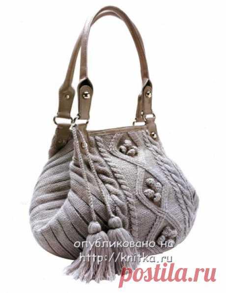 Вязание стильной сумки спицами.