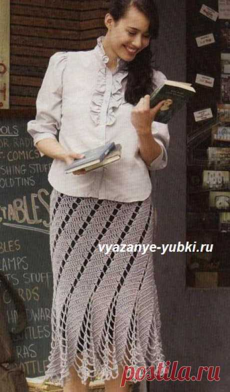 Красивая ажурная юбка со спиральным узором (вязание крючком). Подробное описание вязания на русском языке. Перевод из английского журнала Interweave Crochet.