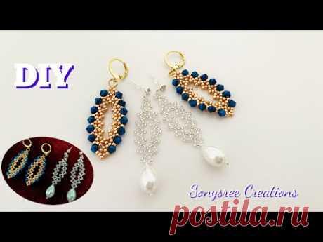 Christmassy Earrings    Super Easy Tutorial    DIY Beaded earrings