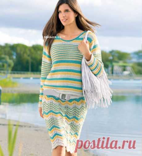 Вязание на лето - Трёхцветный пуловер и юбка - Нефрит и золото.