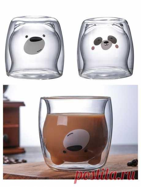 Стеклянные тонкостенные стаканы с мордочками медведей и панд