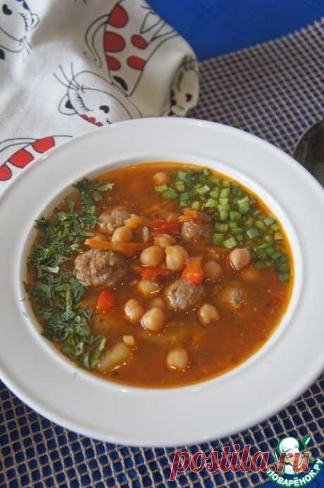 Томатный суп с фрикадельками и нутом - кулинарный рецепт
