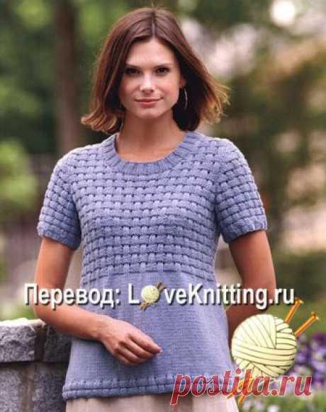 Пуловер плетеным узором   Loveknitting.ru
