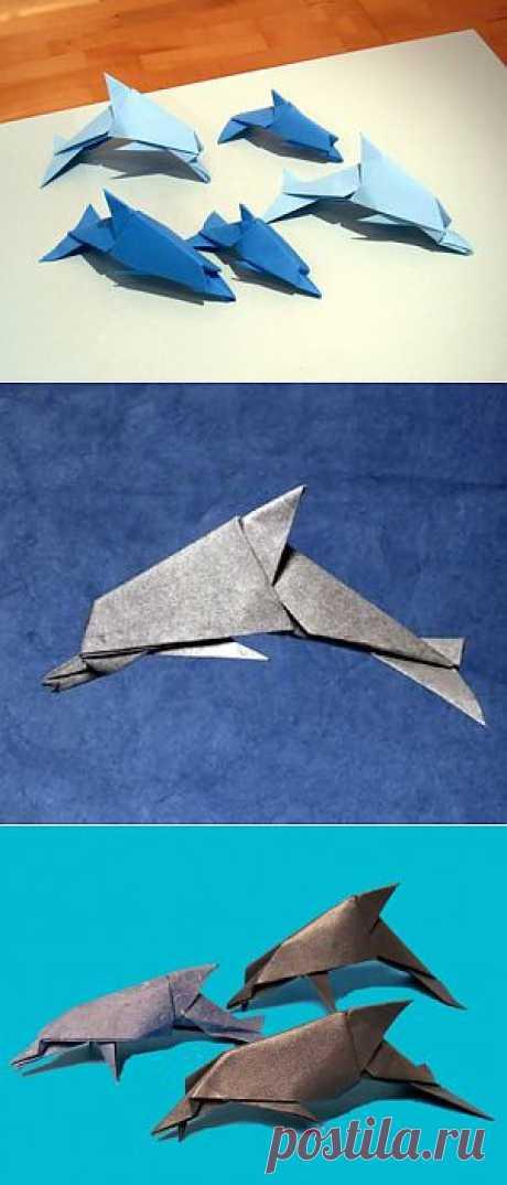 Дельфин из бумаги по схеме от David Brill