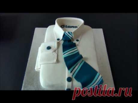 Бесподобный торт для мужчины из мастики: сорочка с галстуком (украшение тортов мастикой). - YouTube