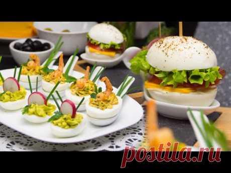 Яичный бургер и фаршированные яйца - питательные закуски