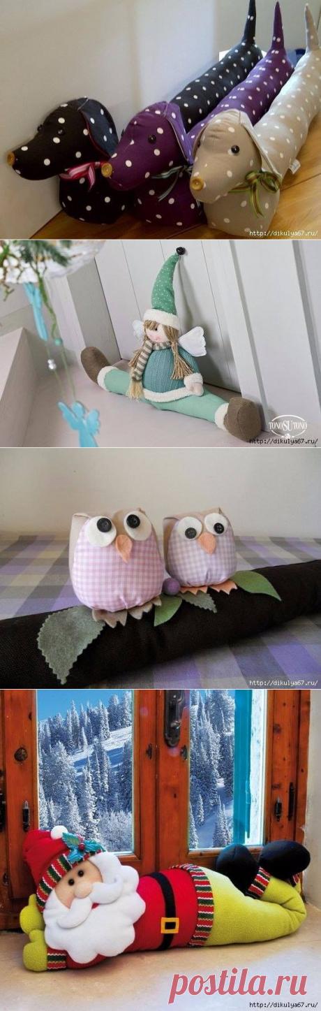 Забавные подушки от сквозняков