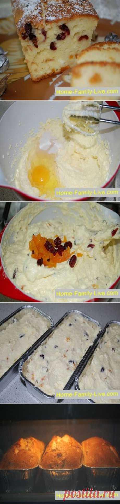 Творожный кекс - пошаговый фоторецепт - кекс с клюквой из творога