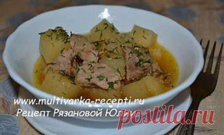 Картофель тушеный со свининой в мультиварке Polaris |