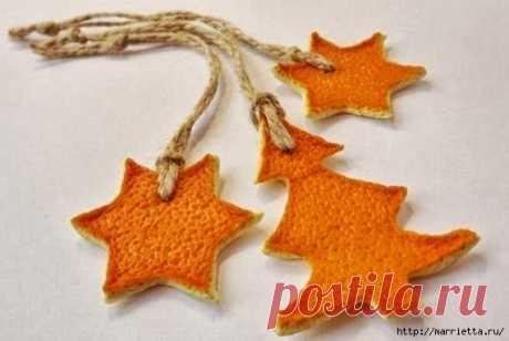 Розочки и подвески из апельсиновых и мандариновых корок