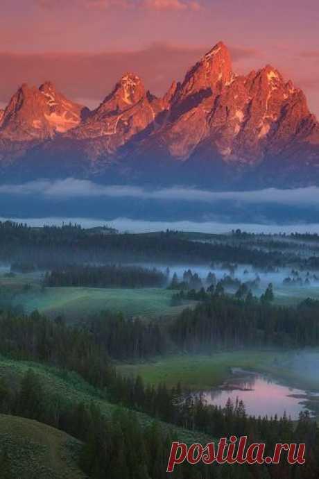 Enantiodromija | Foggy Sunrise Grand Tetons by Chip Phillips