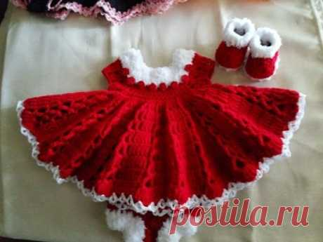 CHRISTMAS Special Crochet Red BABY FROCK Designs