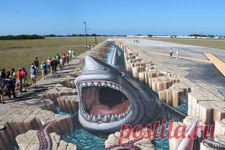 Рекорды Гиннесса. Самый большой объемный 3D рисунок в мире. Создание 3D рисунка на асфальте такого масштаба, который мог бы претендовать на звание самого большого рисунка на асфальте в мире по площади! Немного забегая наперед хочется сказать, что с поставленной задачей художники успешно справились. Итоговые размеры рисунка – 150 метров в длину, и около 15 метров в ширину, что в общей площади – более 2000 метров.