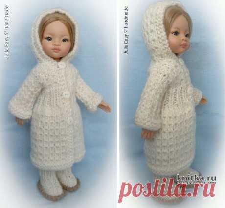 Зимнее пальто с капюшоном для куклы Paola Reina. Работа Julia Easy, Вязаные игрушки