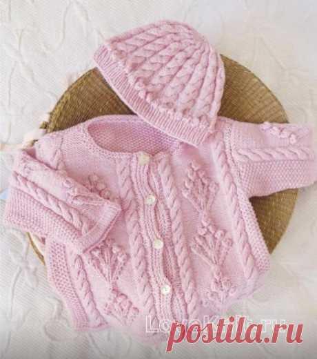 Комплект из жакета и шапочки для малыша с косами схема » Люблю Вязать