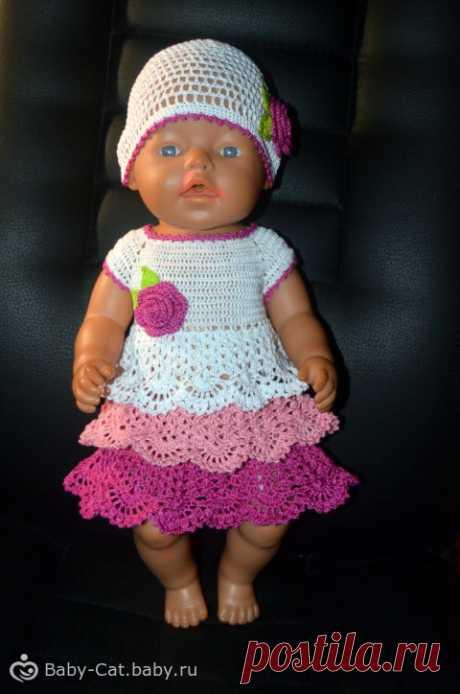 Ажурное платье и шапочка для Беби Борн