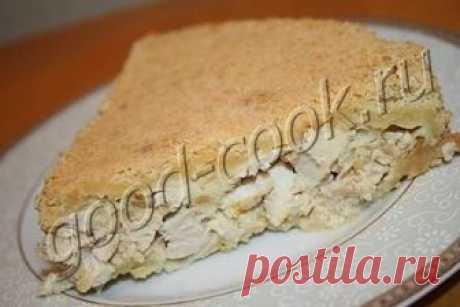 Исключительно вкусный и необычный насыпной пирог с курицей