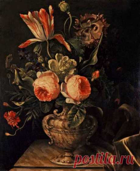 Willem Frederik Van Royen 1645 - 1723  A Vase of Flowers Fitzwilliam Museum, Cambridge, M.A., United States Of America Painting, Oil on canvas