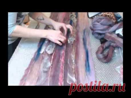 Nadezhda Elpis Rabota with blenda and multikolor. Creation of a scarf - a spider line
