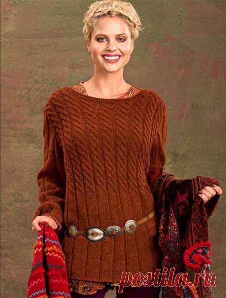 Мягкий, уютный, удлиненный пуловер с косами (Вязание спицами) – Журнал Вдохновение Рукодельницы