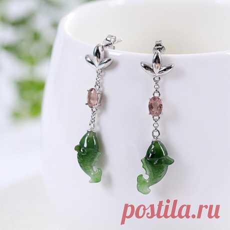 Green natural jasper earrings-925 silver earrings-animal   Etsy