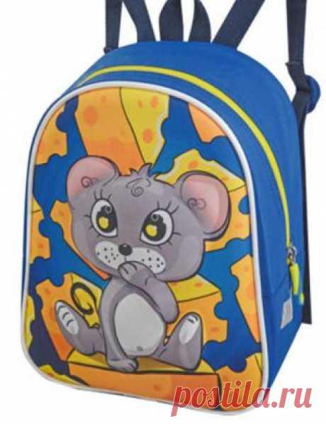 Рюкзак детский 1813-3 дошкольный голубой с мышкой на сыре