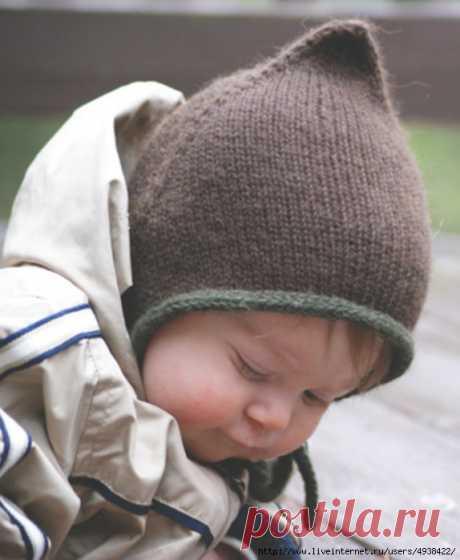 Детская вязаная шапочка «Bebeguin» на любой размер.