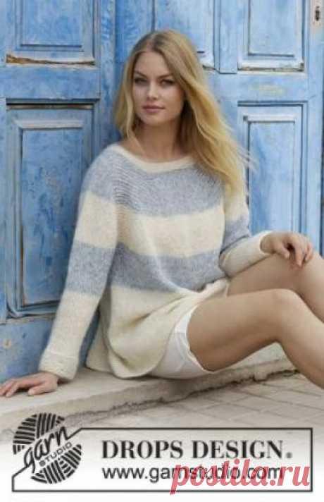Пуловер Удача моряка Чудесный свободный пуловер для женщин с рукавом реглан, связанный на спицах 5.5 мм из двух видов тонкой шерстяной пряжи. Вязание...