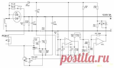 Схема зарядного устройства 12.6В 3А для шуруповерта с 12-вольтовым аккумулятором