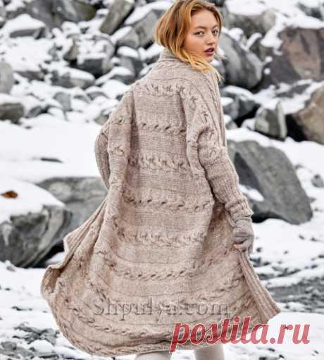 Пальто оверсайз с поперечными «косами» — Shpulya.com - схемы с описанием для вязания спицами и крючком