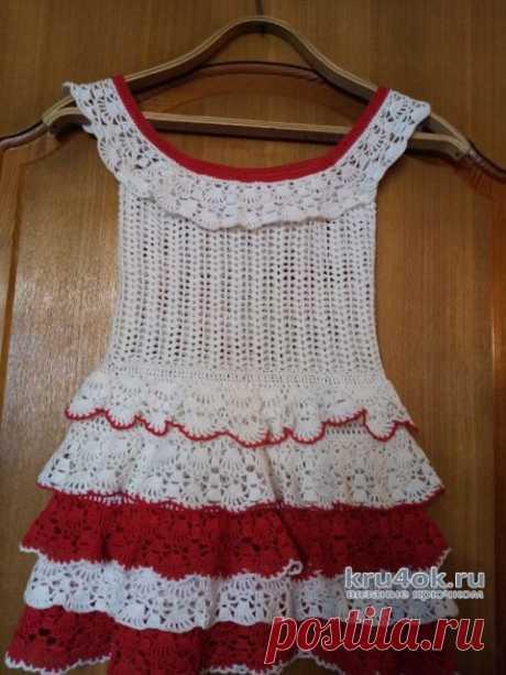 Платье для девочки 4-5 лет связано крючком. Работа Ивановой Людмилы