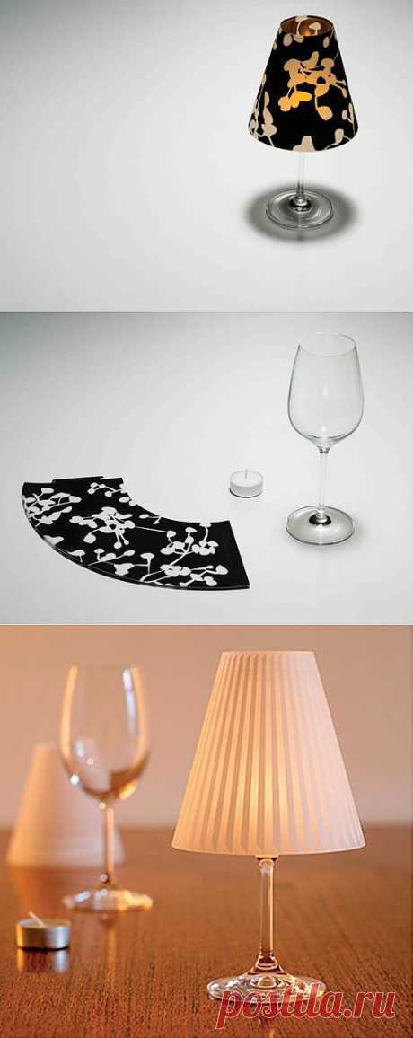 Лампа из бокала и свечей | Хитрости жизни