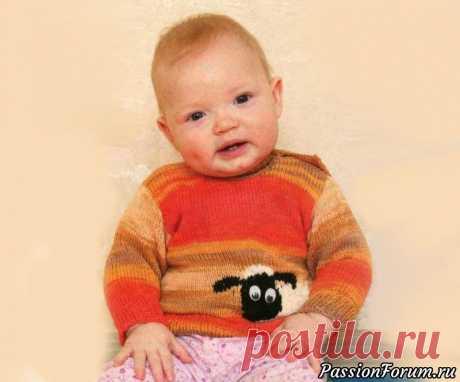 Кофточка «Овечка» | Вязание спицами для детей Вязаная спицами детская кофточка на 9 месяцев с овечкой.Вам потребуется:пряжа (100% хлопок, 50 г/180 м) - 100 г мелажевой в оранжевых тонах, (60% акрил, 35% вискоза, 5% спандекс, 100 г/530 м) - немного белого цвета, пряжа (100% хлопок, 100 г/400 м) - остатки черного цвета, спицы №2,5 и...