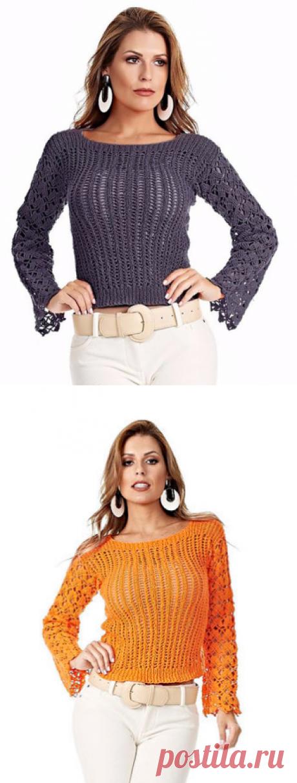 Красивый пуловер спицами и крючком.