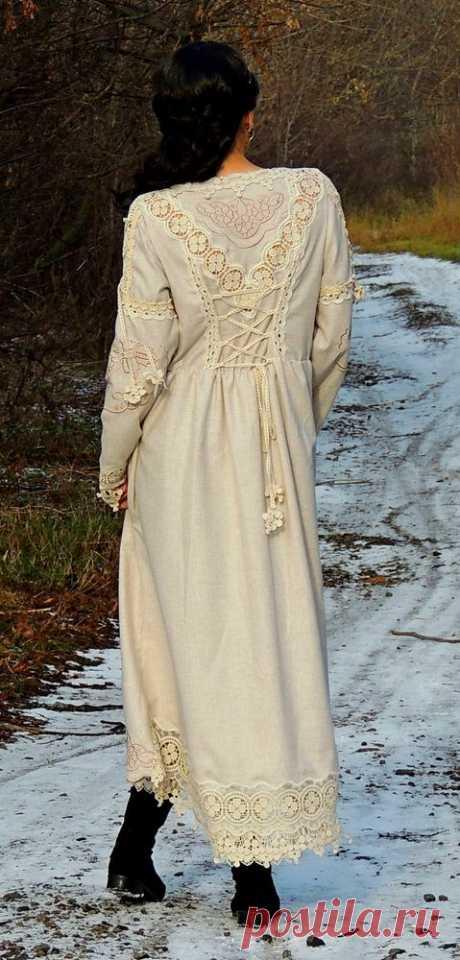 НОВИНКА! БОХО платье из шерсти с вышивкой и шнуровкой | Журнал Ярмарки Мастеров
