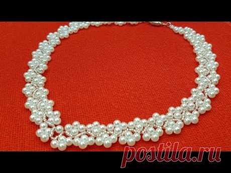 Pearl necklace/Beaded necklace/Pearl collar/Колье из бусин/Колье из жемчуга/@Cícero Alencar