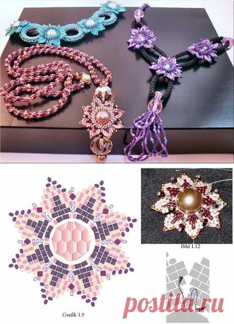 Цветок Дориды / Колье, бусы, ожерелья / Biserok.org