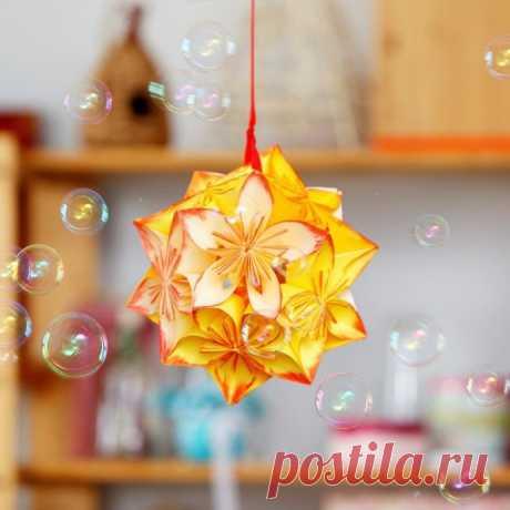 Цветочный шар кусудама — Поделки с детьми