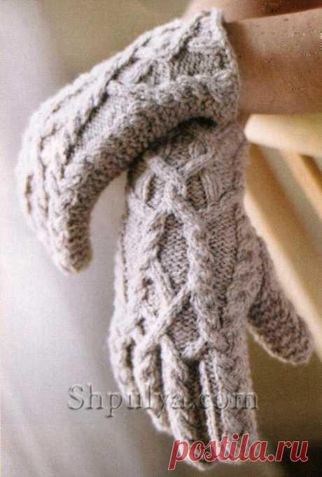 Перчатки с косами спицами — схемы с описанием для вязания спицами и крючком