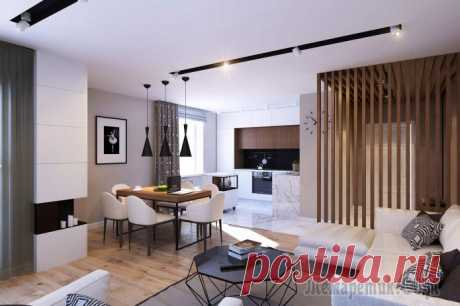 Minimalist design of the 3-roomed apartment of 70 sq.m.