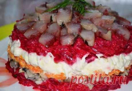 Салат с сельдью и грибами - пошаговый рецепт с фото